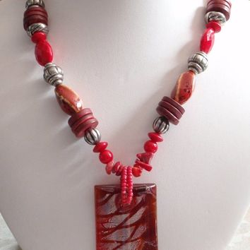 Chunky Red Necklace Beaded Dichroic Glass Pendant Coral Chips Coconut Ethnic Vintage E0055