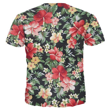 Beautiful Flowers Print T-shirt For Men/Women Summer Tees Quick Dry 3d Tshirts Tops Fashion