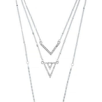 Triple Layred Dangling Iced Out Chevron Chain Necklace Jewelry Set (Silvertone)
