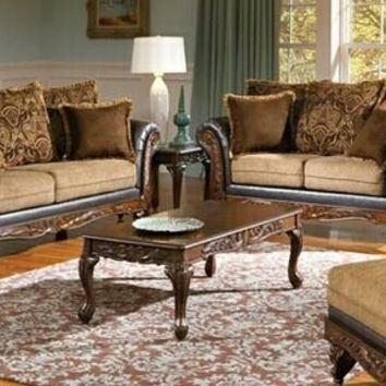 2 pc Serta upholstery Fairfax collection 2 tone fabric and leather like vinyl sofa and love seat with wood trim