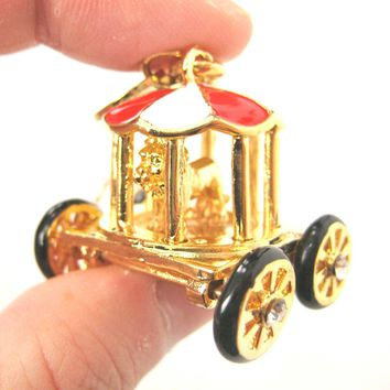 Detailed Circus Zoo Lion in a Cage Carriage Wagon Pendant Necklace | Limited Edition