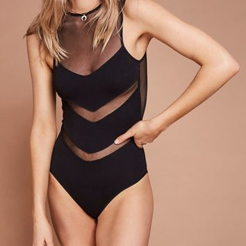 Black Sheer Mesh Panel Sleeveless Bodysuit