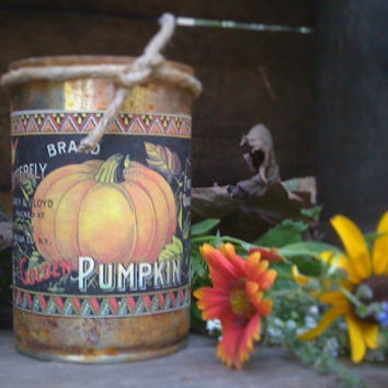 Primitive  Can Candle - Scented - Pumpkin Apple Butter - Fall Harvest - Homemade - Only 11.99