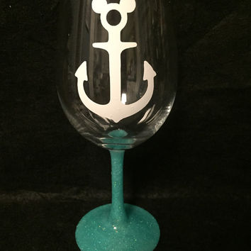 Nautical Mickey anchor with Caribbean blue stem