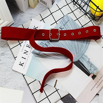 Long Velvet Square Buckle Belt