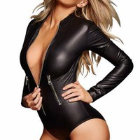 Alex PVC Leather Black Long Sleeve Bodysuit