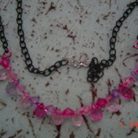 18 inch black chain  shade of pink acrylic beads strung on wire gift female OOAKHandmade Jewelry
