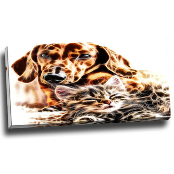 Cat and Dog Friends Forever Canvas Wall Art Print
