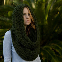 Oversized Hooded Cowl, Infinity Scarf, Olive Forest Green