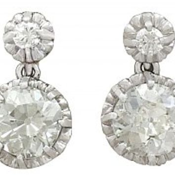 3.74ct Diamond and Platinum Drop Earrings - Antique Circa 1900 a ea535cf73c