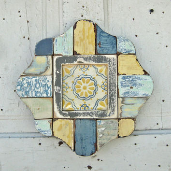 Turquoise and Yellow Reclaimed Wood, Mosaic Framed Mexican Tile Art, Mosaic Wall Art