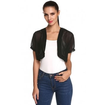 Women Sheer Chiffon Short Sleeve Cropped Bolero Shrug Cardigan Top