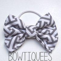 Gray Geometric Bow, Gray Geometric Hair Tie , Gray Geometric Pony Tail Holder