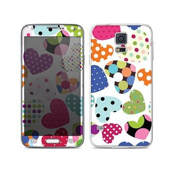 The Colorful Polkadot Hearts Skin For the Samsung Galaxy S5