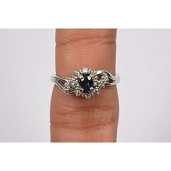 14k White Gold .75 ct Diamond & Sapphire Cocktail Ring Oval Blue Not Enhanced