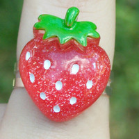 Kawaii Strawberry Ring, Red Strawberry Fruit Cabochon Fairy Kei Ring