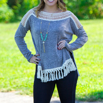I Like The Way You Fringe Top-Heather Black