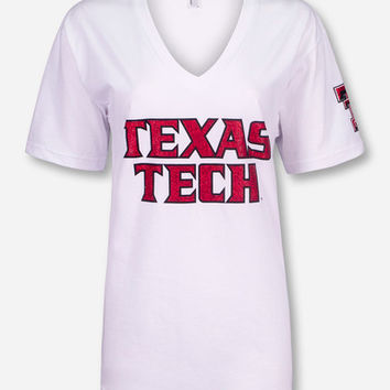 Texas Tech Glitter Football Font T-Shirt