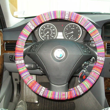 Custom Thai Woven Fabric Steering Wheel Cover