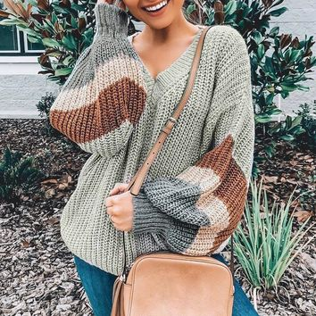 Loose Lantern Sleeve V Neck Classic Pullover Sweater