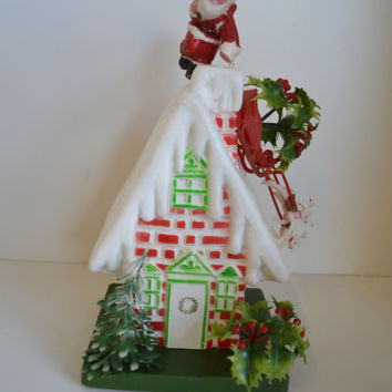 Vintage, Plastic Christmas Decoration, Santa on roof.