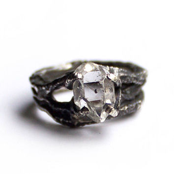 Herkimer Diamond Molten Ring