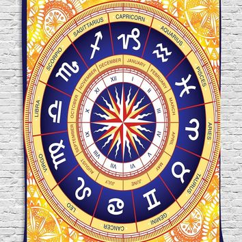 Horoscope Zodiac Astrology Wall Boho Tapestry