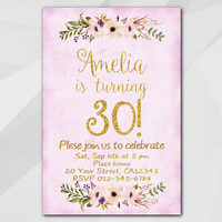 Watercolor Birthday Invitation, Purple Gold Invitation, 13th 18th 21st 30th 40th 50th, Custom Birthday Party invitation XA322f
