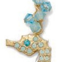 "Catherine Popesco Gold Plated Swarovski Crystal Seahorse Pendant Necklace, 16+2"" Extender"