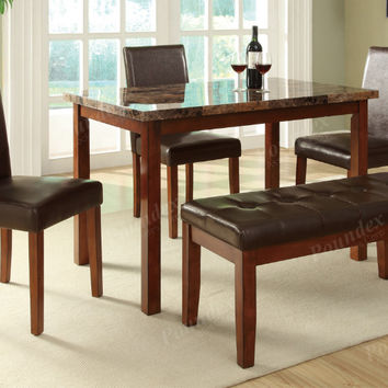 Poundex F2509 5 pc Marlin medium oak finish wood faux marble top dining table set