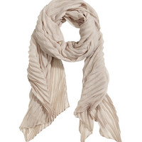 H&M - Pleated Scarf - Light gray - Ladies