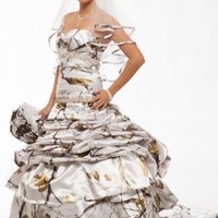 3140 All Camo and Faux Crystals Wedding Gown