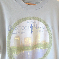 Vintage '96 BOSTON MARATHON 100th Anniversary Running Runner HANES T Shirt Sz L