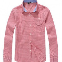 Korea Fashion Lattice Long Sleeve Casual Slim Cotton As Picture Men Clothing M/L/XL@SJ96331ap $18.99 only in eFexcity.com.