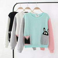 Block Rabbit Patch Pocket Sweater