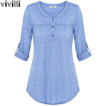 Vivilli  Spring Summer Roll up Long Sleeve Women Knitted Blouse with Buttons Fitted Casual Curved Hem Female Solid Tunic Tops