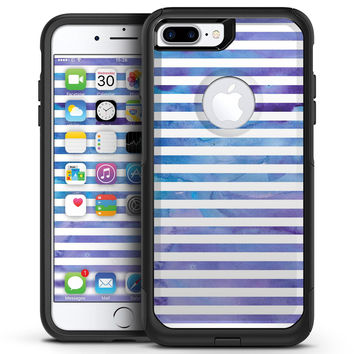 White Horizontal Stripes Over Purple and Blue Clouds - iPhone 7 or 7 Plus Commuter Case Skin Kit
