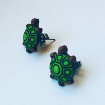 Turtle Earrings, Animal Earrings, Sea Creature, Titanium earrings for sensitive ears