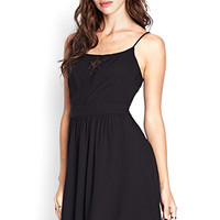 FOREVER 21 Floral Lace Fit & Flare Dress Black