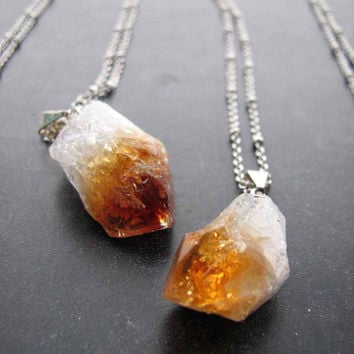 raw citrine crystal point necklace  amber rough by friendlygesture