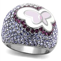 Purple Crystal Butterfly Stainless Steel Ring