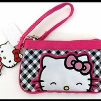 Hello Kitty GINGHAM PRINT CANVAS WRISTLET Licensed