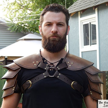 Viking leather shoulder armor. Single or double, black or brown. Very high quality.
