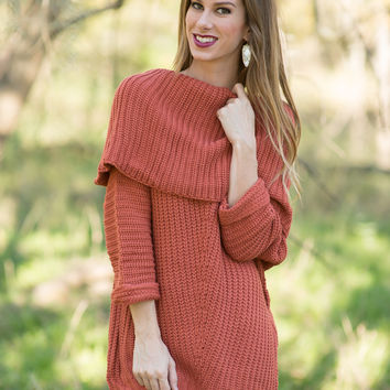 Winter Dreams Off Shoulder Top - Rust