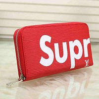 Louis Vuitton X Supreme Men Fashion Leather Zipper Wallet Purse