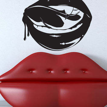 Vinyl Wall Decal Sticker Licking Vampire Lips #5427