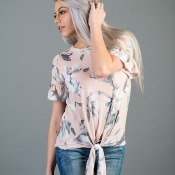 Blush Floral Front Tie Knot Top
