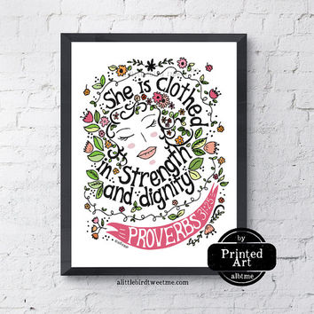 Women Typography Art. Proverbs 31:25. She is Clothed in Strength and Dignity. Scripture Wall Art. 8.5 x 11""
