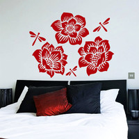 Flower Wall Decals Rose Butterfly Flowering Blossom Stickers Living Room Decor Vinyl Decal Sticker Art Mural Bedroom Kids Room Decor MR323