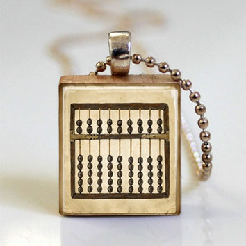 Abacus Mathematics Math Jewelry Scrabble Tile Pendant with Ball Chain Necklace Included (ITEM S646)